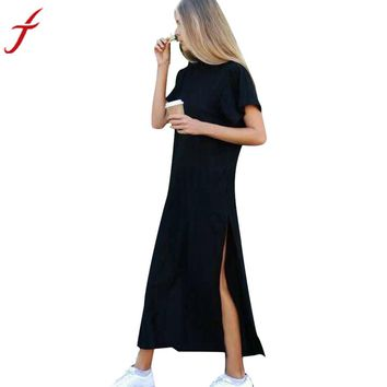 Women Maxi Dress Pretty Buttons Long Slit skirt - Free Shipping