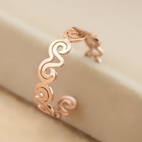 womens retro hollow out rose gold ring adjustable tail ring gift-138