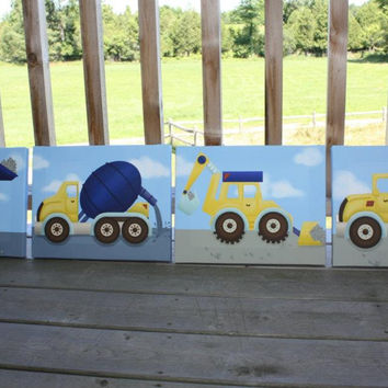 Set of 4 Construction Trucks Boys Bedroom Stretched Canvases Kids Canvas Wall Art 4CS004