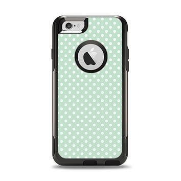 The Light Green with White Polkadots Apple iPhone 6 Otterbox Commuter Case Skin Set