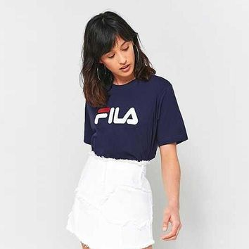 Women's FILA Casual Print Short Sleeve Tunic Shirt Top Blouse