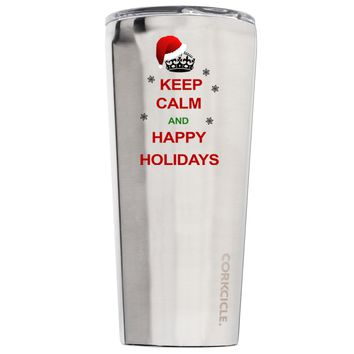 Corkcicle Keep Calm and Happy Holidays 24 oz Tumbler Cup