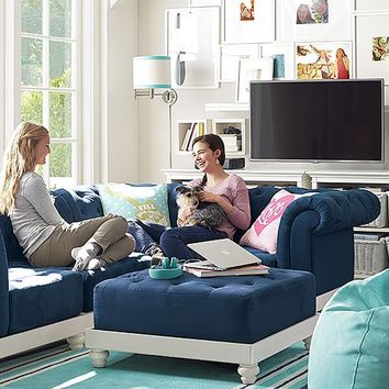 Cushy Roll Arm Lounge Navy