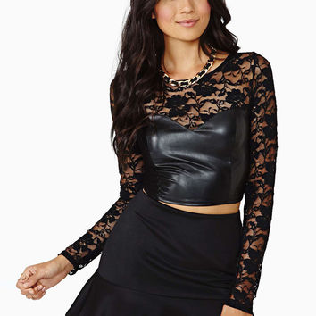 Black Long Sleeve PU Leather Bodycon Cropped Top with Floral Lace Accent