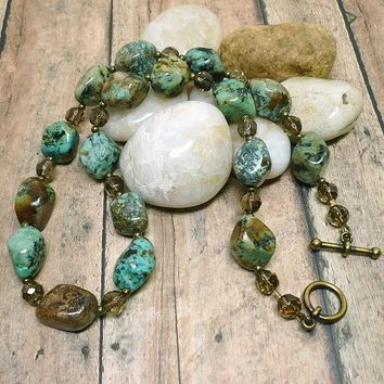 Rustic African Turquoise Nugget, Smoky Quartz Brass 21 inch Necklace