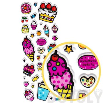 Candies Cake Ice Cream Donuts Shaped Sweets Food Themed Puffy Stickers for Kids
