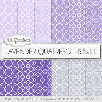 "Quatrefoil paper ""LAVENDER QUATREFOIL 8.5"" X 11"" digital paper, lavender, lilac, purple, gray, white colored background quatrefoil design"