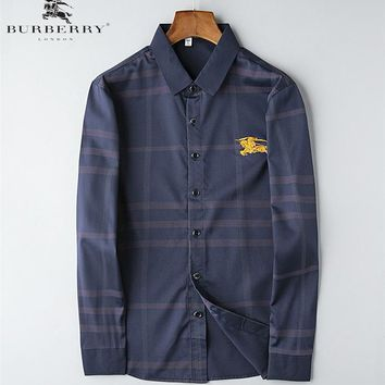 Burberry New fashion embroidery war horse long sleeve top shirt men