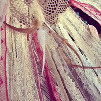 Gypsy Crib Mobile - Laces Dreamcatcher Mobile - Boho Bedroom - Bohemian Nursery - Feathers Mobile - Made 2 Order