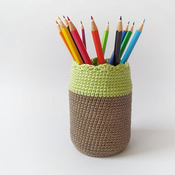 Cotton crochet pen holder, eco friendly pencil organizer, desk accessory, upcycled glass office decoration, kids room decor