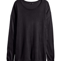 H&M - Fine-knit Sweater - Black - Ladies