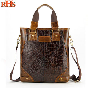 Men Genuine Real Cow Leather Shoulder Bag Messenger Cross Body Laptop Crocodile Alligator Zip Vintage Retro Casual Daily Handbag