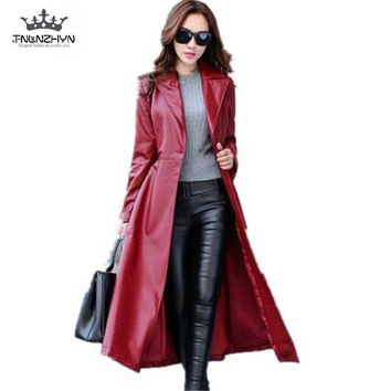 2017 Spring Autumn Women Leather Jacket  Fashion High-end PU Leather Coats X-long Belted Slim PU Leather Trench Coats SK113