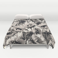Sunflowers in Soft Sepia Duvet Cover by Micklyn