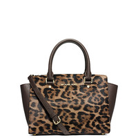 Michael Kors Selma Leopard Hair Calf Medium Satchel