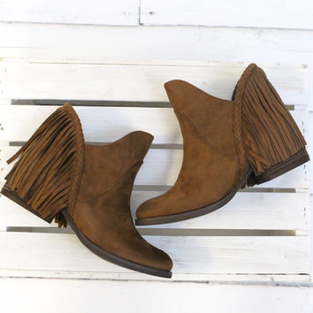 Not Rated: Braxton Fringe Back Booties {Tan}