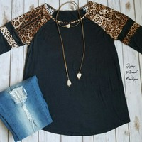Let Me Flatter Black Leopard Top - Also in Plus Size