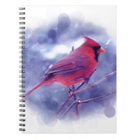 Red Cardinal in the Blizzard Spiral Notebooks