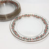 Holly Berry Christmas Plates, Arcoroc Gold Trim Gold Holly Leaf Plates, Clear Glass Lunch Plates, Holiday Plates