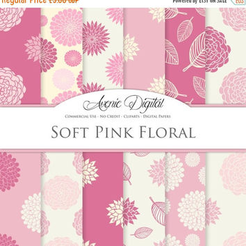 50% OFF Pink floral Digital Paper. Scrapbooking Backgrounds, pink flower patterns for Commercial Use. Pastel dahlia flowers and leaves print