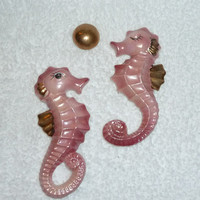 Vintage Bradley Seahorse Pink Gold Wall Plaque Mermaid Fish Bubble Japan 1950s Mid-Century Bathroom