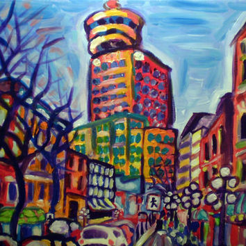 "ORIGINAL acrylic painting on stretched canvas - Harbour Centre From Gastown - 14"" x 18"""