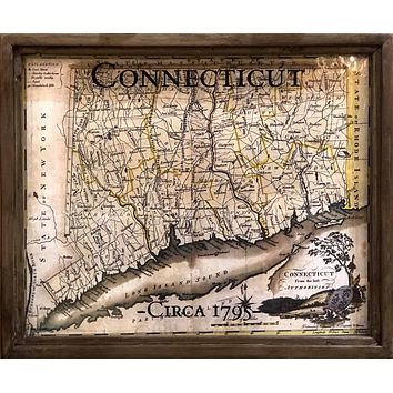 Vintage Connecticut Map | Framed Shadowbox | 24-in