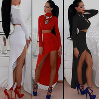 Fashion sexy bandage dress long-sleeved dress two-piece PL0119DH