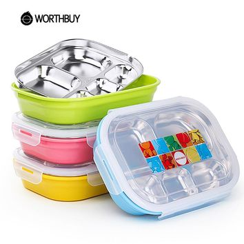 WORTHBUY 304 Stainless Steel Japanese Bento Box Water Heating Lunch Boxs Containers With Compartments Kid Food Container Storage