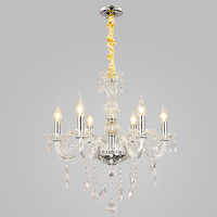 European Luxury Crystal Chandelier Max 240W with 6 Lights Plating Finish