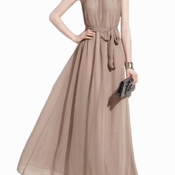 Halterneck Off Shoulder with Waist Tie Pleated Maxi Dress