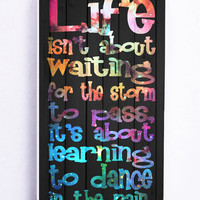 Galaxy Life Quote Dance In The Rain On Wood for Iphone 5C Hard Cover Plastic