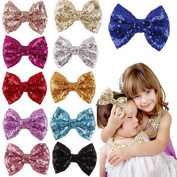 Sequins Bow Hair Clips Kids Girls Barrette for Costume Party Hair Accessories 3C
