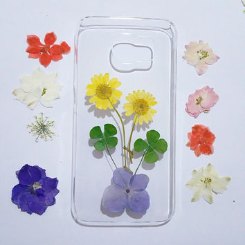 Clear Samsung Galaxy S6 Cases, Samsung Galaxy note edge Case, pressed flower note Edge case, Galaxy S6 edge Case flower, samsung galaxy case