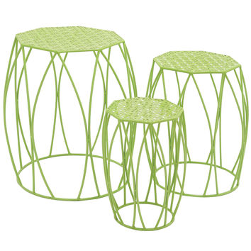 Nature?S Set Of 3 Metal Green Plant Stand