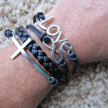 Made in the USA -  Silver Cross, Love and Karma Infinity Black Friendship Bracelet