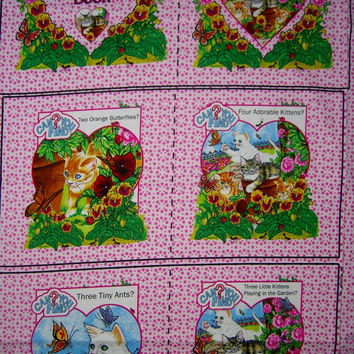 Fabric panel Hidden kitty cat seek and find book kids baby toddler cotton quilting sewing material to sew by the yard 1yd HTF craft project