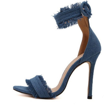 Women Pumps 2016 Fashion High Heels Shoes Wedding Women Shoes Chaussure Femme Denim High-Heeled Sandals Zapatos Mujer Tacones