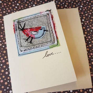 Applique sewn tweet me a LOVE bird beautiful birdy shabby shic greetings card great for all ages beautiful birthday card