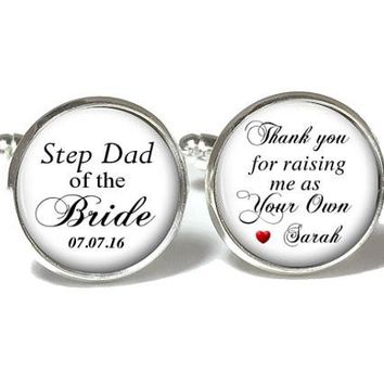 Step Dad of the Bride Cufflinks, Step Dad of the Bride Tie Clip, Wedding Cufflinks, Style 665