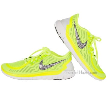 Womens 2015 Nike Free 5.0 shoes in Volt with Swarovski crystal details