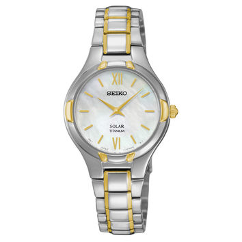 Seiko SUP292 Women's Watch Titanium Case Mother of Pearl Dial Solar
