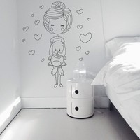 Wall Decor Vinyl Sticker Room Decal Girl Love Bunny Hare Rabbit Coney Animal Play Toy Doll Happy Heart Nursery Kid Child Baby Bedroom (S175)
