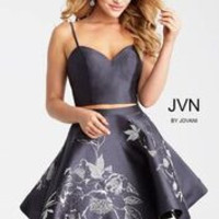Jovani JVN52293 Gunmetal Two Piece Floral Print Dress