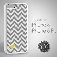 PRE-ORDER - iPhone 6 Case - Chevron Grey Taupe with Yellow Bird Pattern Design - iPhone 6 / 6 Plus Cover IP6