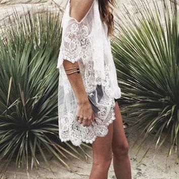 White Floral Embroidery Lace Crochet Condole Belt Cut Out See Through Split Sleeve Boho Mini Dress