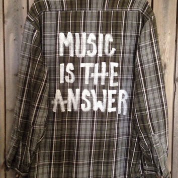 Super soft Plaid flannel Music is The Answer hand painted shirt // Medium