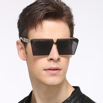 Men Women Oversized Steampunk Square Sunglasses New Fashion Large Clear Lens Metal Mirror Sun Glasses