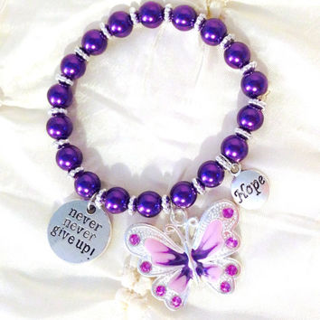 Purple Stretch Charm Pearl Bracelet Silver Plated Rhinestone Enameled Butterfly Never Never Give Up! Hope Lupus Awareness Bracelet