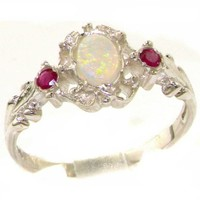 925 Sterling Silver Natural Opal and Ruby Womens Trilogy Ring - Sizes 4 to 12 Available